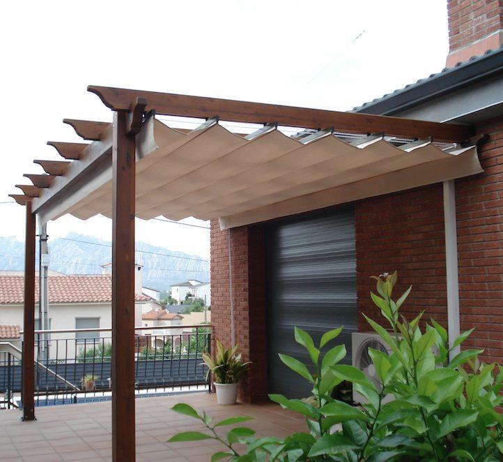 P rgola tensada toldo en barcelona resistente para jard n - Pergolas de madera valencia ...